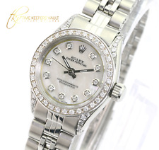 Rolex Oyster Perpetual 25mm White MOP Diamond Dial Diamond Bezel Jubilee Band
