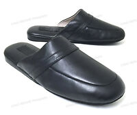 Mens House Slippers  Classic Leather Lining Padded Black Loafer Shoes, Size 7-15