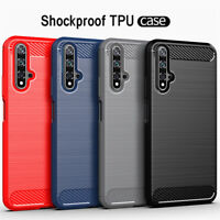 For Huawei Nova 5T 3 3i Shockproof Carbon Fiber Silicone Gel Soft TPU Case Cover