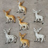 Vintage Lot of 7 Christmas Hard Plastic Deer Brown  and White Deer Christmas