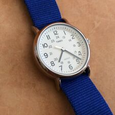 New Timex Weekender Indiglo Watch 12/24 Hour Dial_38mm_ Blue NATO Band