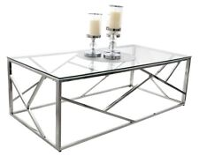 CT020 CT021 TABLE BASSE GLAMOUR VERRE ACIER CHROME TABLE DESIGN MODERNE TUTUMI