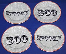 WONDERFUL SET OF 4 CIROA PORCELAIN WICKED HALLOWEEN SPOOKY/BOO APPETIZER PLATES