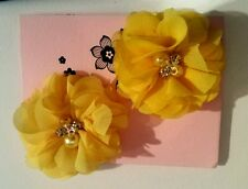 "2 Girls/Ladies Yellow 2""  Flower.Voile Hair Clip pearl diamante centre"