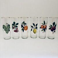 6 Vintage Fruit Tumblers Drinking Glasses Grapes Cherry Lemon Orange Plum Peach