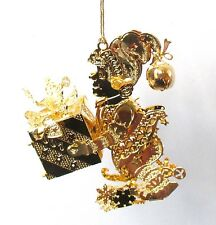 Danbury Mint Annual 2007 Special Delivery Elf Present Gold Christmas Ornament