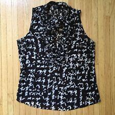 Guess Womens Sleeveless V-Neck Shear Blouse with Ruffles Sz. Small $58 Black