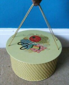 Vintage PRINCESS Wicker & Wood Round Yellow Sewing Craft Box