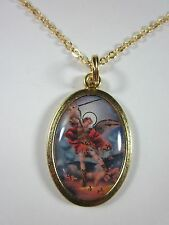 "St Michael Archangel Color Image Medal Gold Plated Pendant Necklace 20"" Chain"