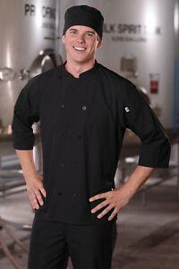 Vtex 0975-01 Epic 3/4 Sleeve Chef Shirt, Black, Size xs-2x