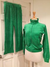 Kirsten Womens Velour TrackSuit Gym Fitness Jacket Pants Inseam 30.5 Green S New