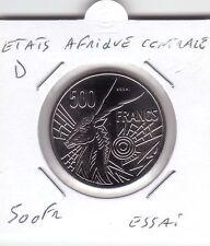 """ESSAI 500 FRANCS ETATS AFRIQUE CENTRALE LETTRE """"D"""""""