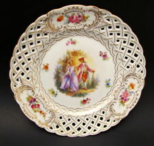 Antique Hand Painted Dresden Reticulated Portrait Roses Plate Carl Thieme 1900+