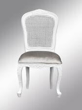 Louis Xv  Bedroom Chair  - French White  Brushed Silver Velvet