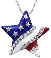 Patriotic July 4th USA US American National Flag Star Pendant Necklace Jewelry