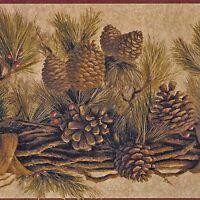 Rustic Pine Cones Wallpaper Border - Golden Brown - Blonder Borders CR