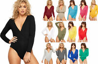 New Womens Wrap Over V Neck Plunge Ladies Long Sleeve Bodysuit Leotard Top 8-24
