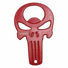 """Keychain Bottle Opener   Wartech 3.25"""" Red Skull + Black Nylon Case"""
