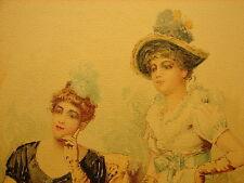 Vtg Frank Russell Green Chromolithograph Werner Print 1800's Antique Opera Art