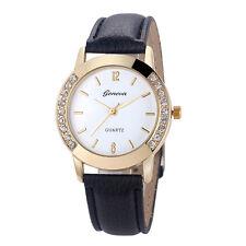 Geneva Women Watch Diamond Stainless Steel Analog Quartz Leather Wrist Watches