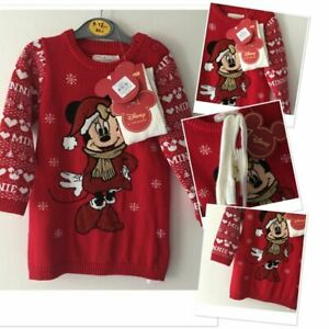 Disney Minnie Mouse baby Girls red Jumper Dress tights set 0-3 18- 24 Mths xmas