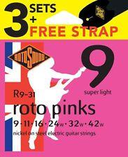 Rotosound R9  Electric Guitar Strings x3 Sets & FREE Strap Gauge 9-42UK