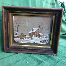 Watercolour on brown paper painting Winter scene