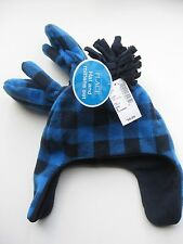 Nwt Blue Check Fleece Hat and Mittens Sz S 12-24 months The Childrens Place