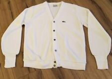 Vtg IZOD Lacoste Mens Cardigan Sweater 60s Made In USA Cream Off-White Sz. Large