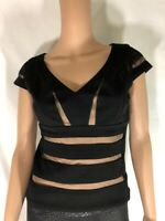 Guess By Marciano Women's Top Tank Blouse Black Short Sleeves Stripes Mesh Sz XS