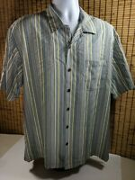 Tommy Bahama Silk Camp Shirt Button Front Short Sleeve Stripes Mens Size Large L