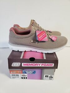 SIZE 11 WIDE FIT MEMORY FORM SKECHERS TAUPE/PINK SUMMITS MACHINE WASH NEW IN...