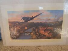 NORMANDY BREAKOUT NICOLAS TRUDGIAN PRINT SIGNED BY 3 BRITISH WWII PILOTS 2004