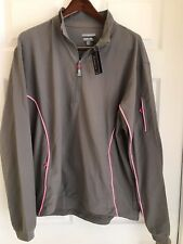 """Nwt~Peter Millar~ Element 4 """"Wind""""~1/4 Zip Pullover~ Gray/ Pink ~Large~Msrp $185"""