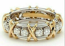 Ring 14k Yellow Gold Over 925 Silver 2Ct Round Diamond Eternity Band Right Hand