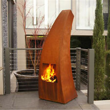 Outdoor/Garten Kamin Feuersäule Maca in Corten Stahl Terrassenofen Außenkamin