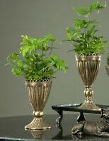 Pokal Pflanzschale Amphore Metall Patina Antik Gold 2 Größen Shabby Vintage