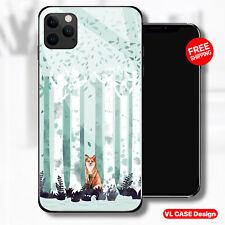 Cute Fox Watercolor Nature Glass Phone Case Samsung Huawei iPhone Xiaomi Gift