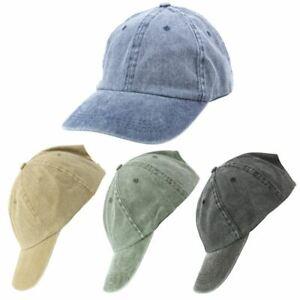 Denim Wash Cap Hat Jean Vintage Faded Black Blue Green Retro 80s 90s New