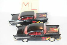 MAJORETTE LOT OF 2 LOOSE '57 CHEVY BEL AIR BLACK W/ FLAME TAMPO SCALE 1/34