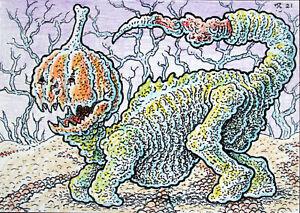 ACEO  Fantasy Original Jack O'Lantern Creature (Halloween)