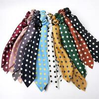 Big Dot Print Ribbon Scrunchies Ponytail Long Scarf Bow Elastic Hair Ties Ropes
