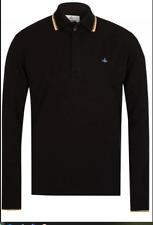 Vivienne Westwood Men's Black Mix Long Sleeve Polo BIO COTTON Size XLarge