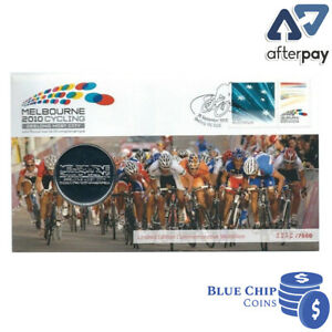2010 MELBOURNE CYCLING GEELONG HOST CITY MEDALLION AND STAMP COVER PNC