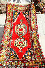 Exclusive 1900-1939s Antique Henna Dyed 4'4''x9&#0 39;4''Dowry Wool Pile Rug
