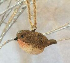 Little christmas robin décoration arbre rouge marron vintage suspendu oiseau résine bird