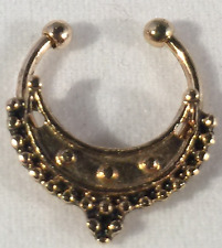 Gold and Black) Faux Septum Ring (Ornate