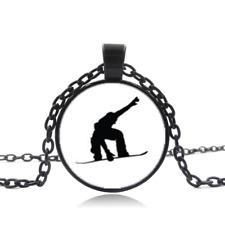 Snowboarding Black Glass Cabochon Necklace chain Pendant Wholesale