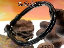 4AB-776 Aussie Made Genuine Leather Black Onyx Stone New Surfer ANKLET Bracelet.