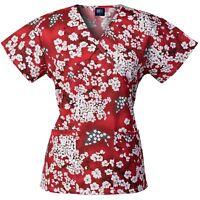 Medgear Womens Fashion Scrubs Top, Mock-Wrap with Back Ties, 2 Pockets 109P-SHRE